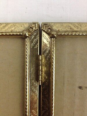 """Vtg 5""""x7"""" Gold Tone Ornate Embossed Metal Double Hinged Folding Picture Frame"""