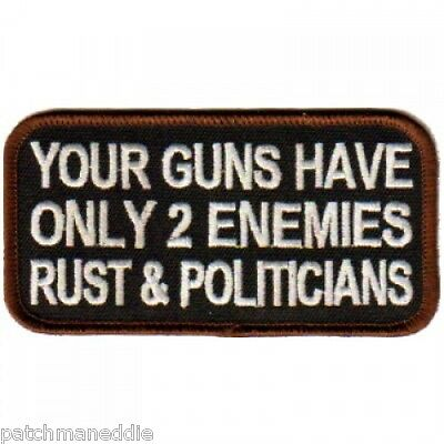 """BIKER PATCH /""""BANNING GUNS TO STOP MURDER IS LIKE BANNING SPOONS /"""" NEW NICE 4X2.5"""