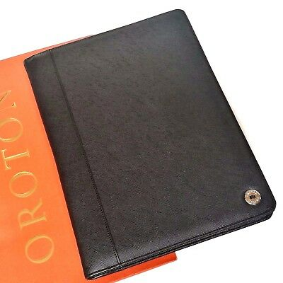 New Oroton Melanie Texture A4 Folio Organiser Compendium Black Leather RRP$295