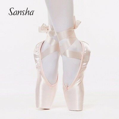 Sansha Pink Ballet Dance Toe shoes Professional Ladies Satin Pointe Shoes Silk