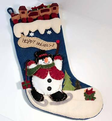 Felt and Fleece Christmas Stocking Snowman Skating and Toy Train