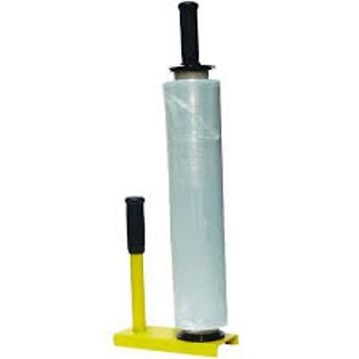 HAND HELD STRETCH WRAP DISPENSER - pallet bundling shrink holder handle