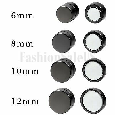 One Pair Mens Women Non Piercing Ear Stud Clip On Round Magnetic Earrings Black