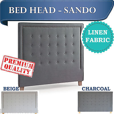 Wholesale Linen Fabric Headboard Size Double Queen King In Charcoal And Beige