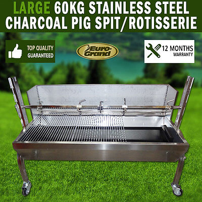 Large 60Kg Bbq  Stainless Steel Charcoal Pig Spit Rotisserie