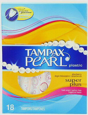 Tampax Pearl Plastic 18 Super Plus Absorbency Fresh Scent