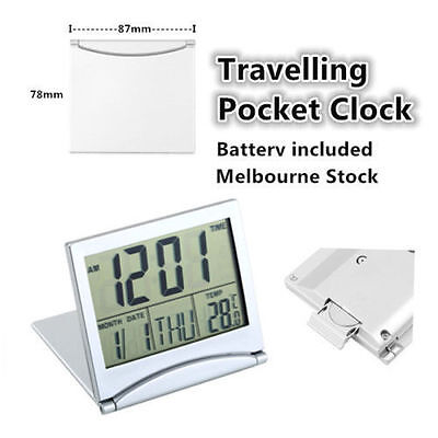 Travel Digital LCD Desk Clock with Thermometer Calendar Alarm and Flexible Cover