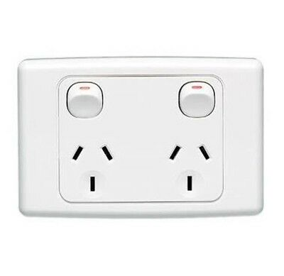 2x Clipsal Double Power Points 10A White 2000 Series