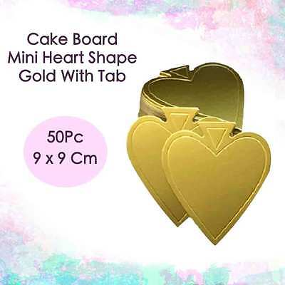 Cake Board Mini Heart Shape Gold With Tab 50Pc 9 x 9 Cm Cupcake Boxes Cake Boxes