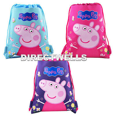 Peppa Pig Authentic Licensed Drawstring String Bag School Sport Backpack