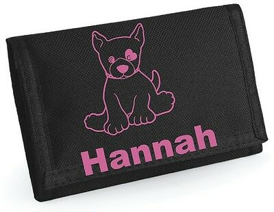 Girls Personalised PUPPY Wallet/Purse.  Choice of colours