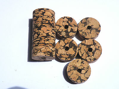 "10 Burl Cork Rings 11/4""x1/2"" W+B Bore 1/4"""