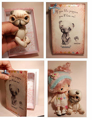 Mimi the dog'in a vintage 3D handcrafted box, collectible BJD' OOAK Ppinkydolls
