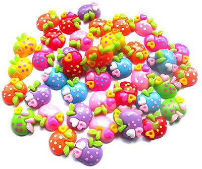 10 Mixed Random Colourful Apples Flatbacks + Free P&P