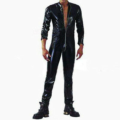 faux leather sexy costume men Jumpsuit adult Fetish Party Cosplay Erotic Wetlook