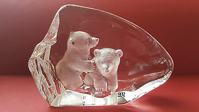 Mats Jonasson Polar Bear Cubs Crystal Signed Paperweight  No. 3714