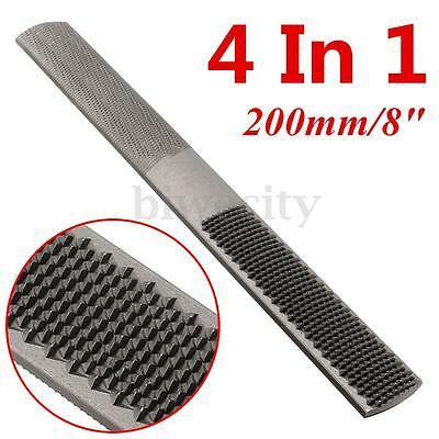 4 in 1 200mm/8'' Carbon Steel Carpentry Woodworking Wood Round Rasp File Tool