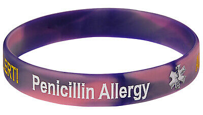 Penicillin Allergy Pink Siicone Wristband Medical Alert ID Bracelet Mediband