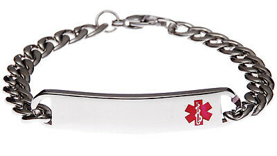 Stainless Steel Slim Red Bracelet Medical ID Alert Jewellery by Mediband