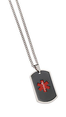 Stainless Steel Dog Tag Red Medical ID Identify Alert Jewellery Mediband