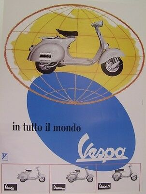"Poster Vespa 50° anniversario ""All over the world"" by Erberto Carboni Designer"