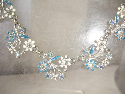Vintage 1950s 1960s blue & white enamel & AB crystal garland necklace jewelry
