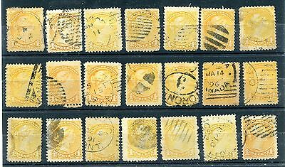 21 x various cancels on 1 cent  Small Queen stamps used lot CAnada