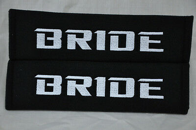 NEW Black Seat Belt Cover Shoulder Pads Pairs with Embroidery Bride Racing Logo