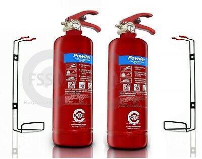 OFFER! 2 x 2 KG DRY POWDER ABC FIRE EXTINGUISHER HOME OFFICE CAR VANS KITCHEN.CE