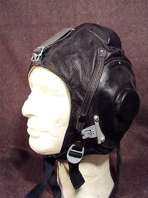 Russian Military Army Black Leather Flying Pilot's Helmet