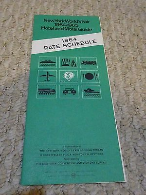 Vitnage 1964-1965 New York Worlds Fair  Hotel Motel Guide Rate Schedule