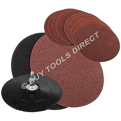 10 Coarse Sanding Discs & Rubber Backing Pad for Electric Power Drill Sander