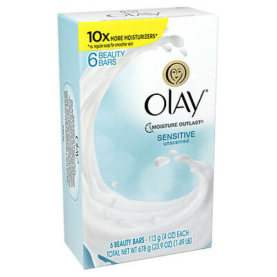 6 Ct Olay Moisture Outlast Sensitive Unscented Moisturizer Beauty Bar Soap 4 Oz