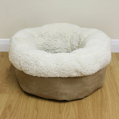 Beige Fleece Round Donut Cat/Kitten Bed Plush Small Super Soft Cushion Snug/Cosy