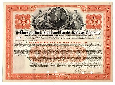1898 Chicago Rock Island & Pacific RWC, IL Stock Certificate Signed J.M. Johnson