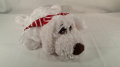 "Dan Dee Collector's Choice 15"" White Dog Red Stripped Scarf Plush Stuffed Animal"