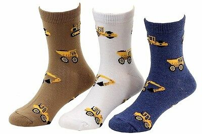 Jefferies Toddler/Little Boy's 3-Pairs Putty Assorted Construction Crew Socks