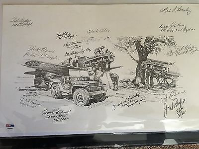 WWII AVG Flying Tigers Signed 16x10 Print signed by (15) Veterans PSA Authentic