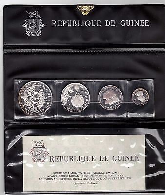 Guinea – 4 Dif Silver Proof Coins Set: 100 - 500 Francs 1968 Year Km#9,10,12,15