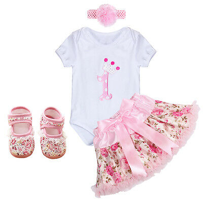 4PCS Baby Girl Headband 1st Birthday Outfit Party Romper Skirt Dress Set Clothes