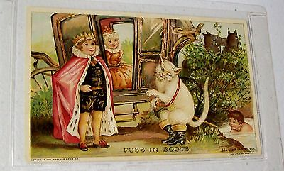 Antique 1894 WOOLSON SPICE LIONS COFFEE Trade Card Fairytale - PUSS IN BOOTS