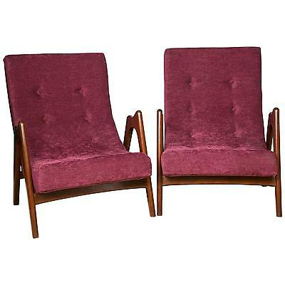 Pair of Newly Upholstered Mid-Century Modern Armchairs 101-WH8