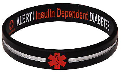 Reversible Designer Black Stripe Diabetes Insulin Dependent Siicone Wristband -
