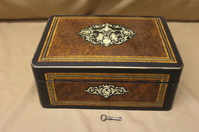 19th C. Iinlaid French Box With Exotic Veneers; Delicate Inlay & Original Key