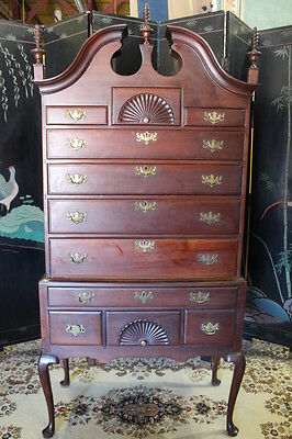 18th Century Queen Anne Mahogany Bonnet-Top Highboy With Urn & Flame Finials