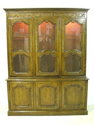 Baker Furniture French Provincial Oak China Cabinet w/Brass Grillwork Doors