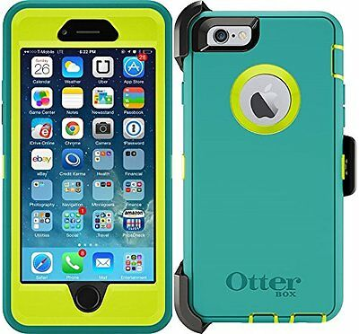on sale 71c5f 7c500 NEW OTTERBOX DEFENDER iPhone 6 / 6S Case & Holster Light Blue/Lime Green  Cover