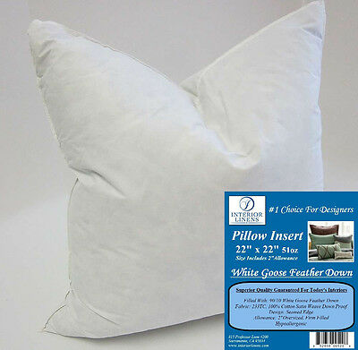 """22"""" Pillow Insert: 51oz. White Goose Feather Down - 2"""" Oversized & Firm Filled"""