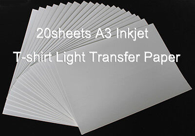 20 Sheets(1package) A3 Inkjet Light Transfer Paper Heat Press DIY T-shirts