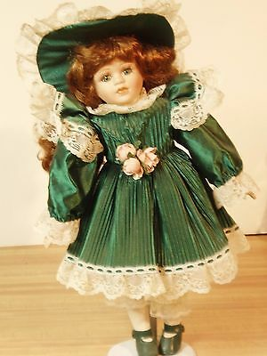 """17"""" Porcelain Doll Awesome Green Dress curls Bisque  Very Good"""